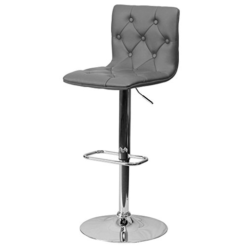 Express Swivel Stool Height Adjustable (Modern Bar Stools Tufted Design Hydraulic Adjustable Height 360-Degree Swivel Seat Sturdy Steel Frame Durable Chrome Base Drafting Chair Bar Pub Stool Home Office Furniture - (1) Grey #1979)