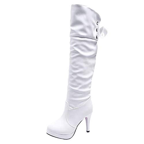 Botas Mujer Invierno,YiYLunneo Botas De Tacón Alto para Mujer Zapatos Caballero Punta Redonda Piel Fina Largo CN 35-39: Amazon.es: Ropa y accesorios