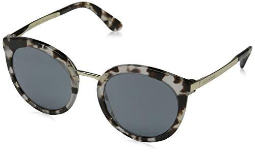 D&G Dolce & Gabbana Women's 0DG4268 Square Sunglasses, Cube Havana/Fog Grey/Black, 52 mm