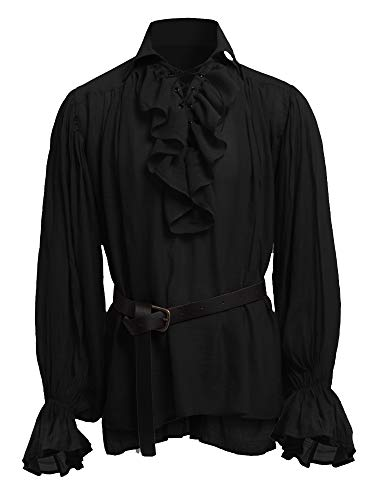 Mens Medieval Shirts Poet's Renaissance Costume Viking Pirate Captain Lace Up Ruffle Tops]()