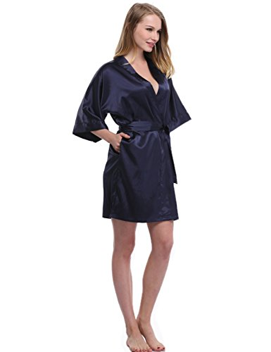 Sunnyhu Women's Pure Color Kimono Robe, Short (M, Navy)