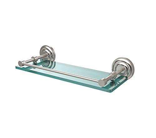 Glass Gallery Rail Shelf - Home Décor Premium 16 Inch Tempered Glass Shelf with Gallery Rail Satin Nickel Storage