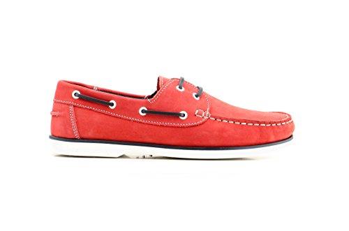 Náuticos Nobuk para Hombre Todo Piel, Sachini mod.1020, Calzado Made in Spain Garantía de Calidad. Rojo