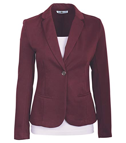 Auliné Collection Womens Office Work One Button Closure Long Sleeves Knit Blazer Burgundy XL ()