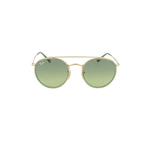 Ray-Ban RB3647N Round Double Bridge Sunglasses, Gold/Green Gradient, 51 ()