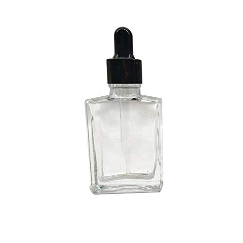 FWD (1 OZ) Clear Square Glass Dropping Bottle with Glass Dropper (3 Pack)