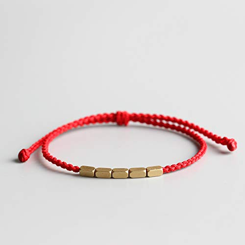 - TALE Lucky Red Rope Bracelet With Copper Charm Beads Tibetan Buddhist Hand Braided Knots - Thin Edition