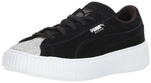 PUMA Kids' Suede Platform Glam Sneaker, Silver Black, 3.5 M US Big (Kids Platform)