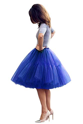 Women's A-line 50s Vintage Short Tutu Prom Party Skirt(Royal Blue,One Size)]()