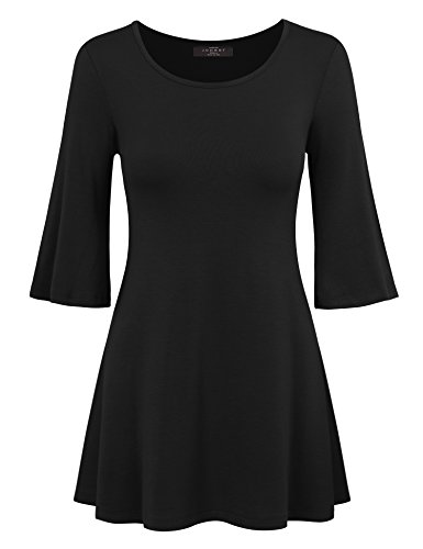 Mbj Wt1056 Womens Round Neck 3 4 Bell Sleeve Pullover Tunic Top Xxl Black