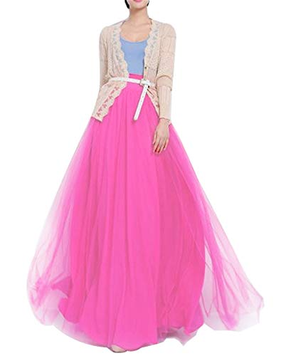 Women Floor Length Long Maxi Puffy Tulle Skirt A Line with Bowknot Belt High Waisted for Wedding Party Evening (Hot Pink, Plus Size)]()