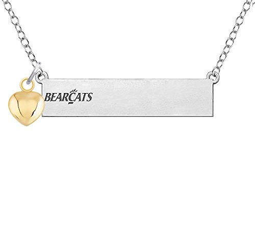 (University of Cincinnati Bearcats Bar Necklace with Gold Heart Accent)