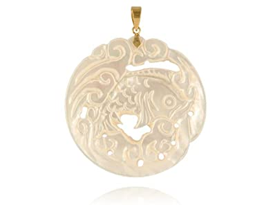 Amazon white mother of pearl river koi pendant 14k gold jewelry white mother of pearl river koi pendant 14k gold aloadofball Image collections