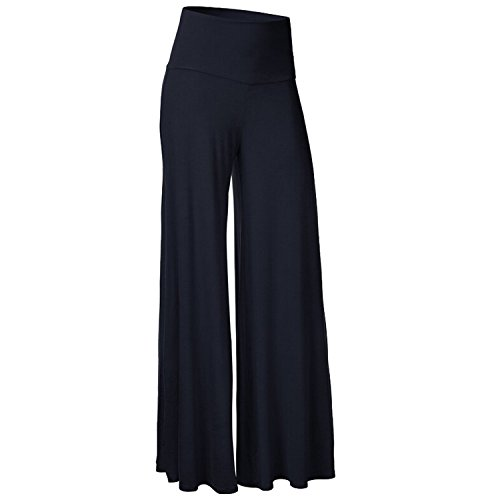 Ladies Decent Flowy Flare Wide Leg Palazzos High Waisted Flared Lounge Pants for Women Dark Blue (Like Dress Pants)