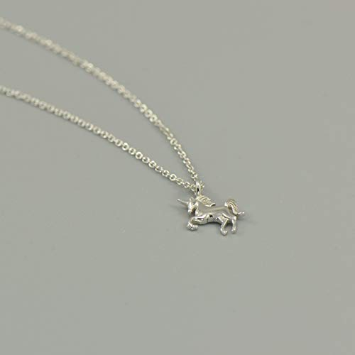 Charm Silver Sterling Unicorn - 925 Sterling Silver Tiny Unicorn Charm Pendant Necklace 16