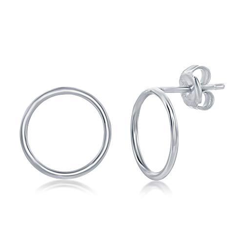 (Sterling Silver Open Circle Stud Earrings)