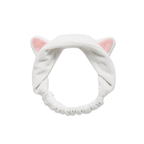 Pevor 2 Pcs Hairband Headband Cat Ears Hair Bands Hair Accessories Soft Cotton Headdress Cute Fashion Hair Band Turban for Women Girls Sport Wash Face Makeup Hair Band