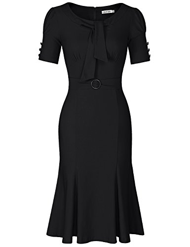 60s Women (JUESE Women's 50s 60s Formal or Casual Party Pencil Dress (XXL, Black))