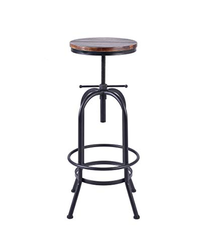 (LOKKHAN Retro Industrial Bar Stool Solid Wood and Metal Height Adjustable Swivel Counter Height Dining Chair,Rustic Bar Stool,Extra Tall Pub Height(Assembly not Required))