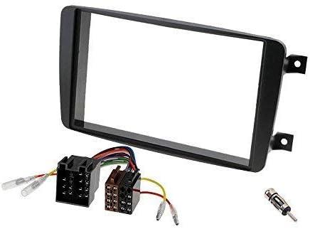 Für Mercedes CLK C209 Auto Radio Blende Einbau Rahmen Doppel-DIN 2-DIN schwarz