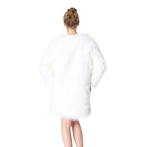 Goyfeelip de XL de Size sólida y Larga Manga sintética Color cálida Frente en de Invierno White Abertura Abrigo Piel el de con cárnico rSrwP