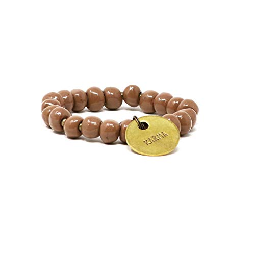 SIMBI Handmade in Haiti 10mm Bright Brown Clay Beaded Stretch Bracelet with Karma Charm Clean Water for Haitians Fashion for A ()