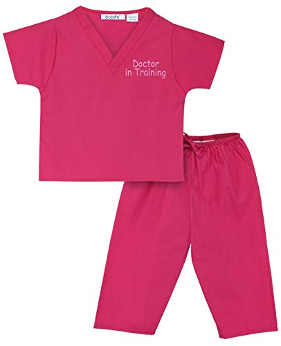 Doc Mcstuffins Halloween Costume Infant (Scoots Kids Scrubs for Baby Girls, Doctor in Training Embroidery, Hot Pink, 0-6)