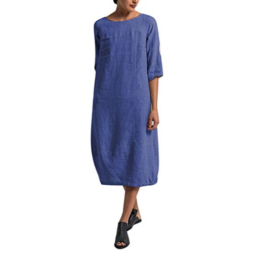Londony✔ Women's Summer Casual T Shirt Dresses Short Sleeve Swing Dress with Waist Pleated Loose Swing Flare Dress Blue