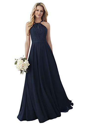 Women's Classic Bridesmaid Dresses Long Chiffon Halter Neck Evening Party Dress Navy Blue,16