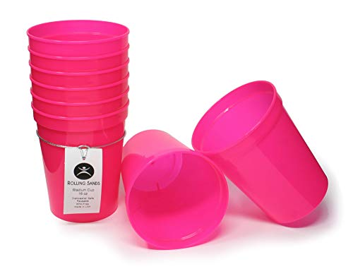 Rolling Sands 16oz Reusable Plastic Stadium Cups Hot Pink (8 Pack, Made in USA, BPA-Free) Dishwasher Safe Plastic Tumblers -