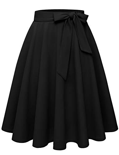 Bridesmay Women's A-line High Waist Knee Length Skirt with Two Pockets
