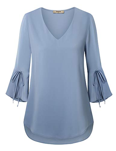 3/4 Sleeve Blouse for Women,Women Chiffon Tunic,Timeson Junior Bell Sleeve Casual V Neck Summer Shirt Loose Fitted Ladies Tunics Blouses Business Casual Button Down Tunic Dress Work T-Shirt Small