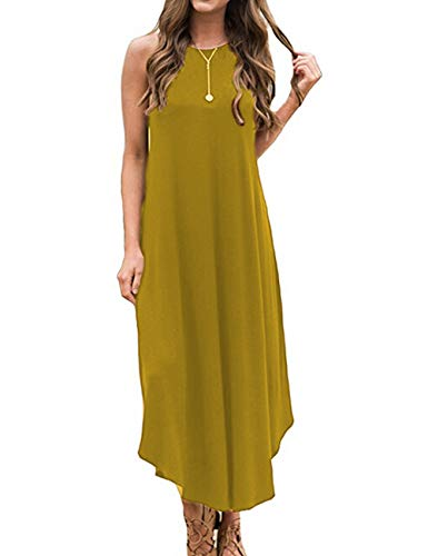 (Halife Womens Sleeveless Maxi Dress Spaghetti Strap Boho Long Beach Dresses Sundress Yellow L )