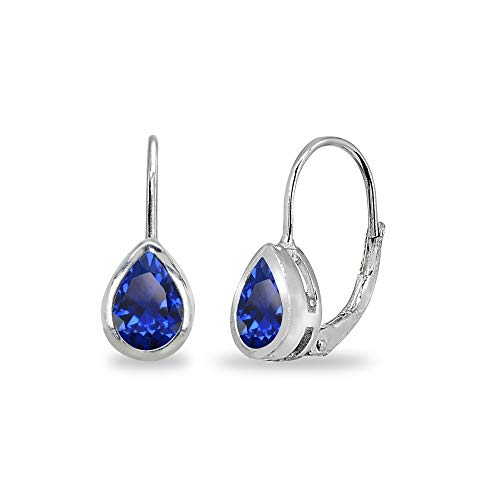 - Sterling Silver Created Blue Sapphire 7x5mm Teardrop Bezel-Set Dainty Leverback Earrings for Women Teen Girls