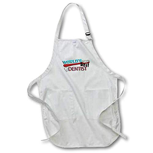 - 3dRose apr_165822_1 Worlds Best Dentist Full Length Apron with Pockets, 22 x 30, White