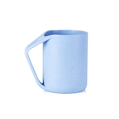 UPSTYLE Retro Coffee Mug, Eco-friendly Wheat Straw Lightweight Cup Biodegradable Mug with Handle Plastic Tumbler for Water, Coffee, Milk, Tea Size 13.5oz (Blue) ()