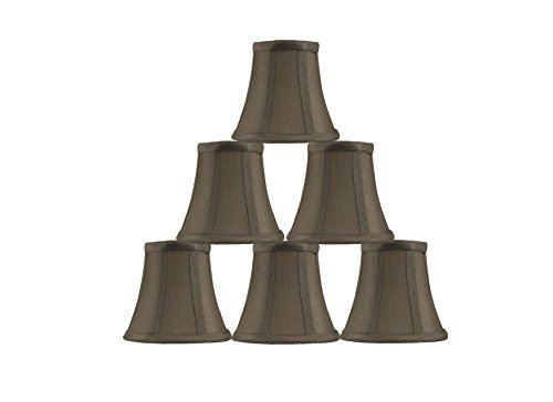 Set of 6 Golden Taupe Chandelier Shade, 5-inch Bottom Diameter, 4.5-inch Height, Faux Silk, Bell Shape, Clip on ()