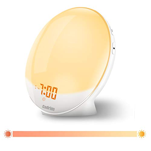 Cadrim Wake up Light Alarm Clock with Natural Sunrise Simulation and Sunset Fading Night Light (White)