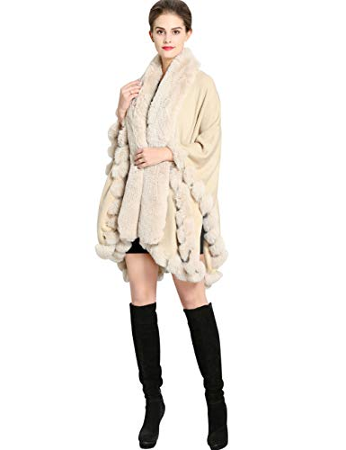 Aphratti Knit Wrap Scarf Shawl Cape with Luxury Rex Rabbit Faux Fur Collar Without Arm Slits One Size Beige