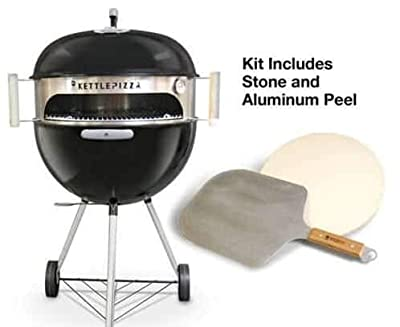 Made in USA KettlePizza Deluxe USA Pizza Oven Kit for Kettle Grills - Includes Stone and Metal Peel, KPDU-22