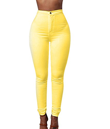 ZKOO Taille Jeans Femmes Up Skinny Collants Stretch Pantalons Leggings Jaune Denim Crayon Push Haute Pantalon IcqIArUWv
