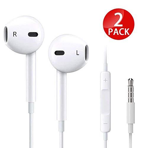 littlejian 2pack 3.5mm Earbuds/Earphones/Headphones,Premium in-Ear Wired Earphones with Remote & Mic Compatible Apple iPhone 6s/plus/6/5s/se/5c/iPad (White)