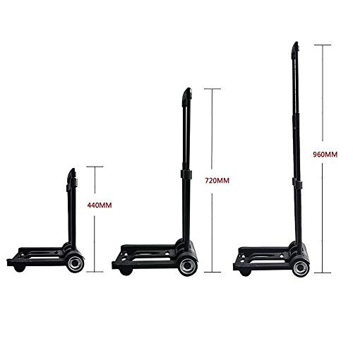 Luggage Cart Folding Hand Truck, 40 Kg Heavy Duty 4-Wheel Solid Construction Utility Cart Compact And Lightweight For Luggage, Personal, Travel, Auto, Moving And Office Use - Portable Fold Up Dolly,Lu by DW&H (Image #1)