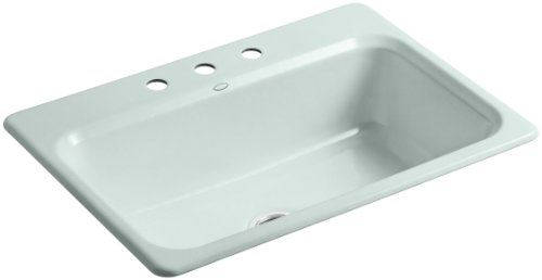 Kohler K-5832-3-FE Bakersfield Self-Rimming Kitchen Sink with Three-Hole Faucet Drilling, Frost