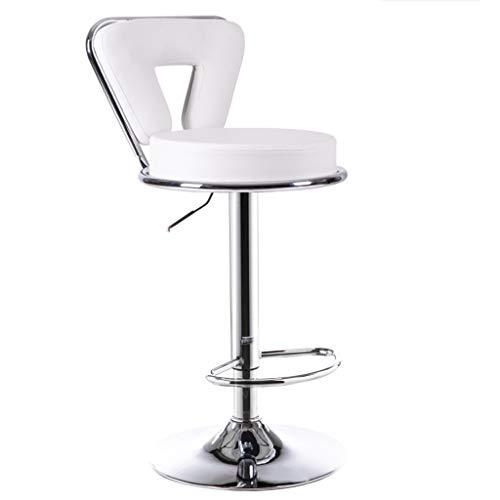 COZY HONE AAA Bar stool, bar chair lift European bar stool metal high chair backrest swivel chair (Color : White)
