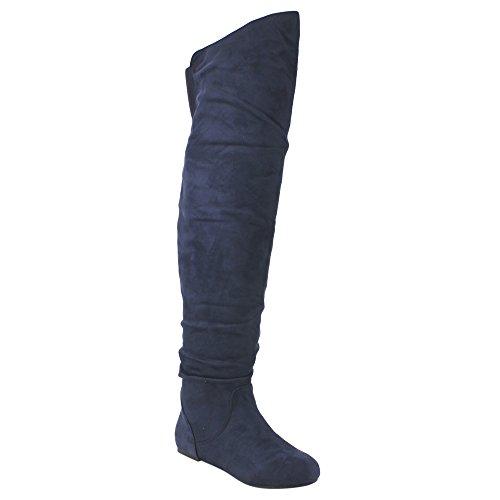 Da Viccino TOP-01-HI Frauen Slouchy Zipper Breite Kalb über die Kniehohe Stiefel Marine