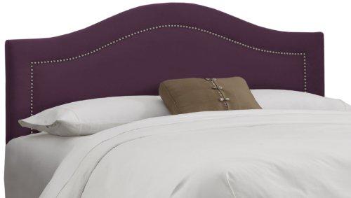Skyline Furniture Inset Nail Button Twin Headboard in Velvet Aubergine