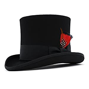 Ferrecci Wool Felt Top Hat /18 Colors/with Grosgrain Ribbon and Removable Feather- Unisex, Men, Women