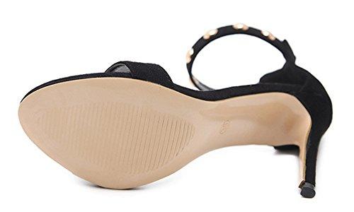 Aisun Damen Basic Metallic Niete Offene Zehen Knöchelriemchen Sandale mit Reißverschluss Schwarz