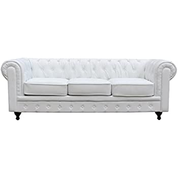 Elegant Classic Scroll Arm Tufted Button Bonded Leather Chesterfield Style Sofa  (white)